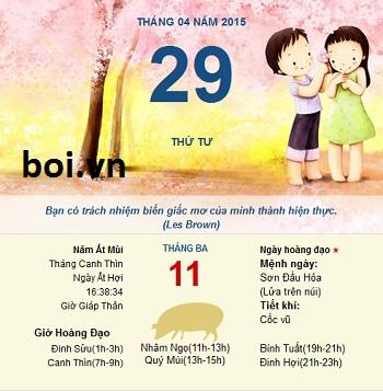 Xem ngày tốt xấu thứ 4 ngày 29 tháng 4 năm 2015