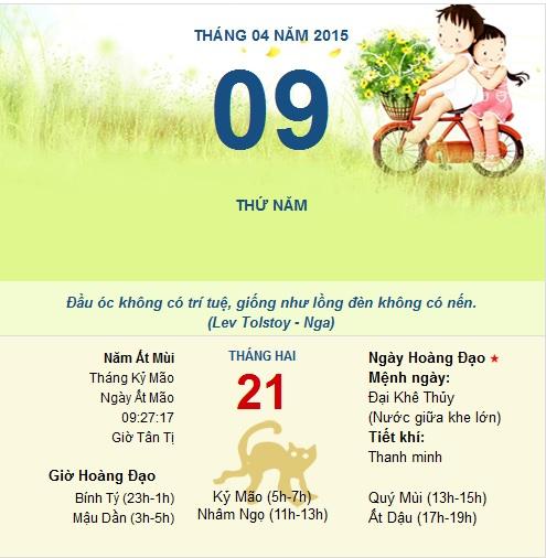 Xem ngày tốt xấu thứ 5 ngày 9 tháng 4 năm 2015