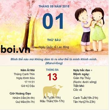 Xem ngày tốt xấu thứ 6 ngày 1 tháng 5 năm 2015