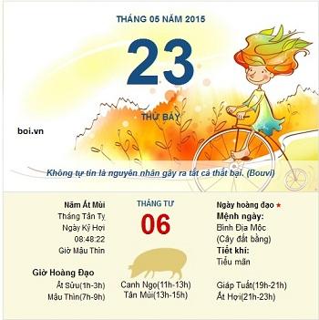 Xem ngày tốt xấu thứ 7 ngày 23 tháng 5 năm 2015
