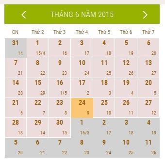Lịch Vạn Sự Tháng 7/2015 (kỳ 1)